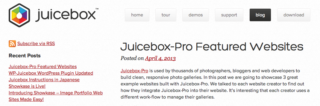 Juicebox blog page